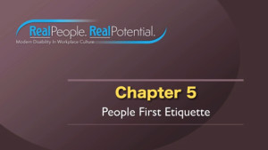 "Title Frame of Chapter Five, ""People First Etiquette."""