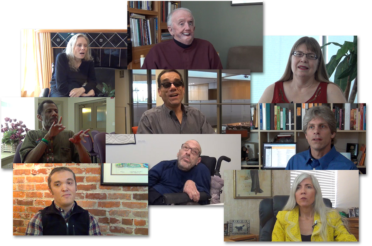 Grouping of head shots of nine people who appear in video clips in the training.