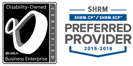 USBLN Disability Owned Business Enterprise, and SHRM Preferred Provider logos